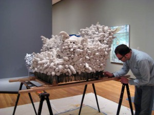 """Kusama """"Arm Chair"""" being prepared to be sent overseas."""