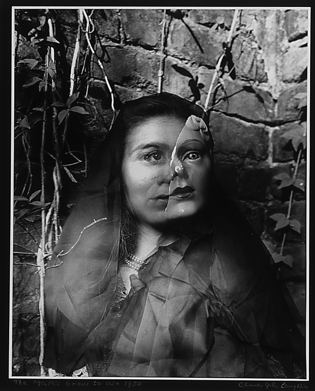 Clarence John Laughlin, The Masks Grow to Us, 1950 (printed 1962), gelatin silver print, 13 7/8 in. x 11 in., Collection of the Akron Art Museum,  Gift of David Cooper  1997.19