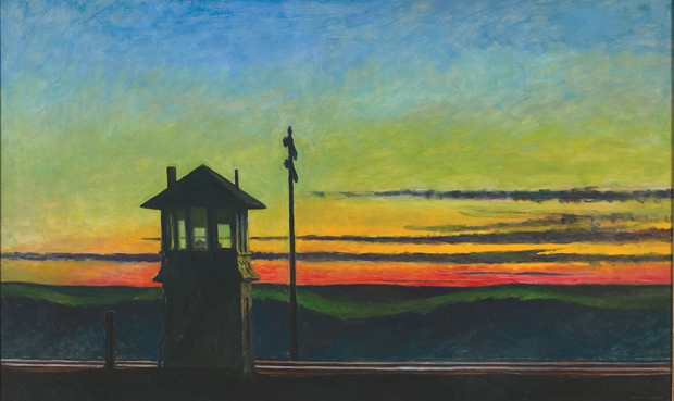 Edward Hopper, Railroad Sunset, 1929, oil on canvas, 29 1/4 x 48 in., Josephine N. Hopper Bequest, Collection of the Whitney Museum of American Art