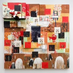 Radcliffe Bailey, JRed House, 1996, mixed media on wood, 96 in. x 96 in. x 24 in., Collection of the Akron Art Museum, Gift of Bruce and Barbara Berger. https://akronartmuseum.org/collection/Obj5080