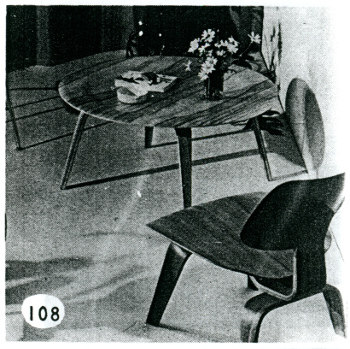 """Evans-Made, Eames Designed"" coffee table and chair from the Useful Objects for the Home exhibition catalog, 1947, Akron Art Museum Archives"