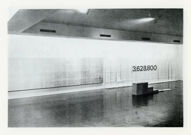 Installation view of Expansion Rotation Series factorial 10.  #AAI 3,628,800.  All permutations of ten of ten symbols.  Six Artists exhibit catalogue, 1972, Akron Art Museum Archives