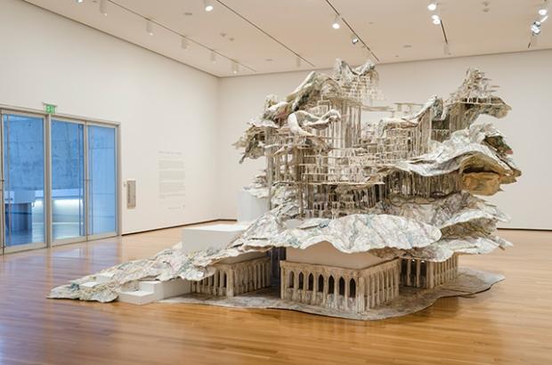 Installation view, Diana al-Hadid, Nolli's Orders, steel, polymer gypsum, wood, foam, and paint, 156 x 264 x 228 in., Courtesy of the artist and Marianne Boesky Gallery, New York, ©Diana al-Hadid, photo: Joe Levack