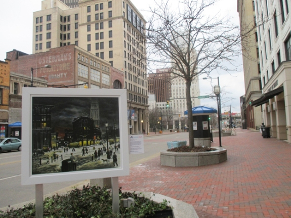 "Photo of the reproduction of Raphael Gleitsmann's painting ""Winter Evening"" taken after it was installed in downtown Akron."