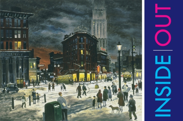 Inside|Out Akron installed a high quality reproduction of Raphael Gleitsmann's Winter Evening, c.1932 in downtown Akron, near the spot featured in the point of view in the painting.