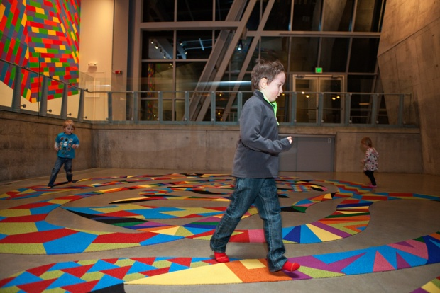 Akron Carpet Labyrinth designed and assembled by Jessica Lofthus with materials provided by Shaw Contract Group, photo by Chris Rutan Photography