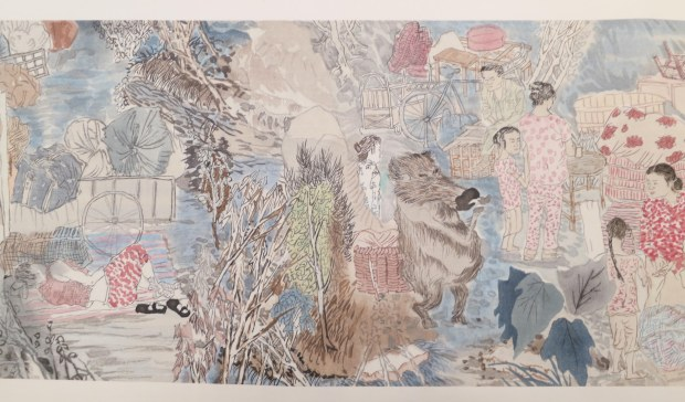 Yun-Fei Ji, Three Gorges Dam Migration, 2009, hand-printed watercolor woodblock on paper and silk