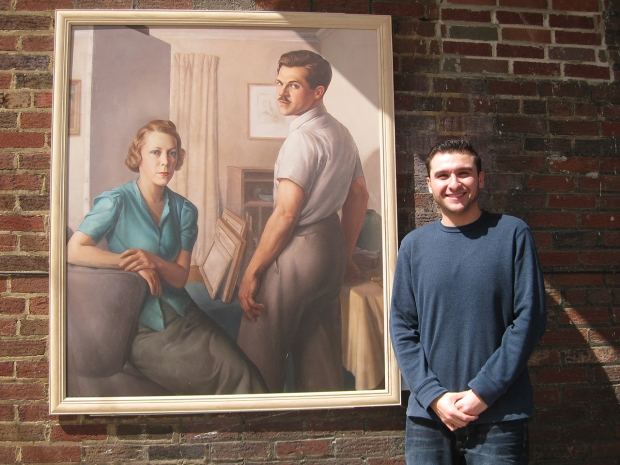Elmer Novotny, The Artist and His Wife (reproduction), installed at Giovanni's Barber Shop in North Hill