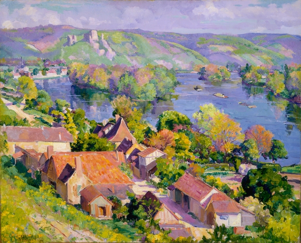 Abel G. Warshawsky (Sharon, Pennsylvania, 1883 - 1962, Monterey, California) The Seine at Andelys, 1923 Oil on canvas 32 in. x 39 1/4 in. Collection of the Akron Art Museum. Gift of Miss Malvyn Wachner in memory of her brother, Charles B. Wachner.