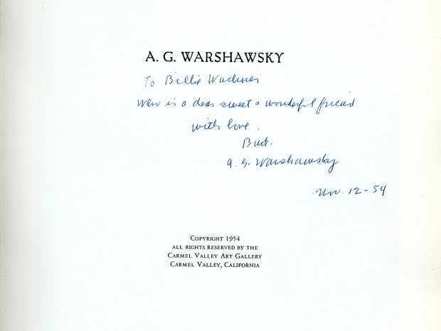 Inscribed copy of Abel G. Warshawsky: Master-Painter, Humanist