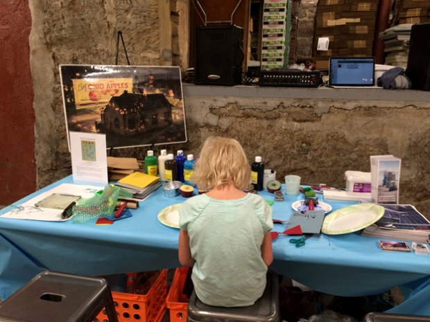 Art activity table set up at Crafty Mart's Pop Up Shop at Thirsty Dog Brewing Co.