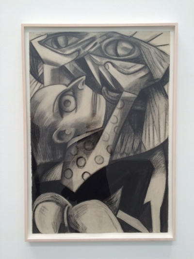 Dana Schutz, Lion and Tamer, 2015, Charcoal on paper, 44 x 30 inches