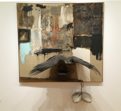 Robert Rauschenberg, Canyon, 1959, Oil, pencil, paper, metal, photograph, fabric, wood, canvas, buttons, mirror, taxidermied eagle, cardboard, pillow, paint tube and other materials