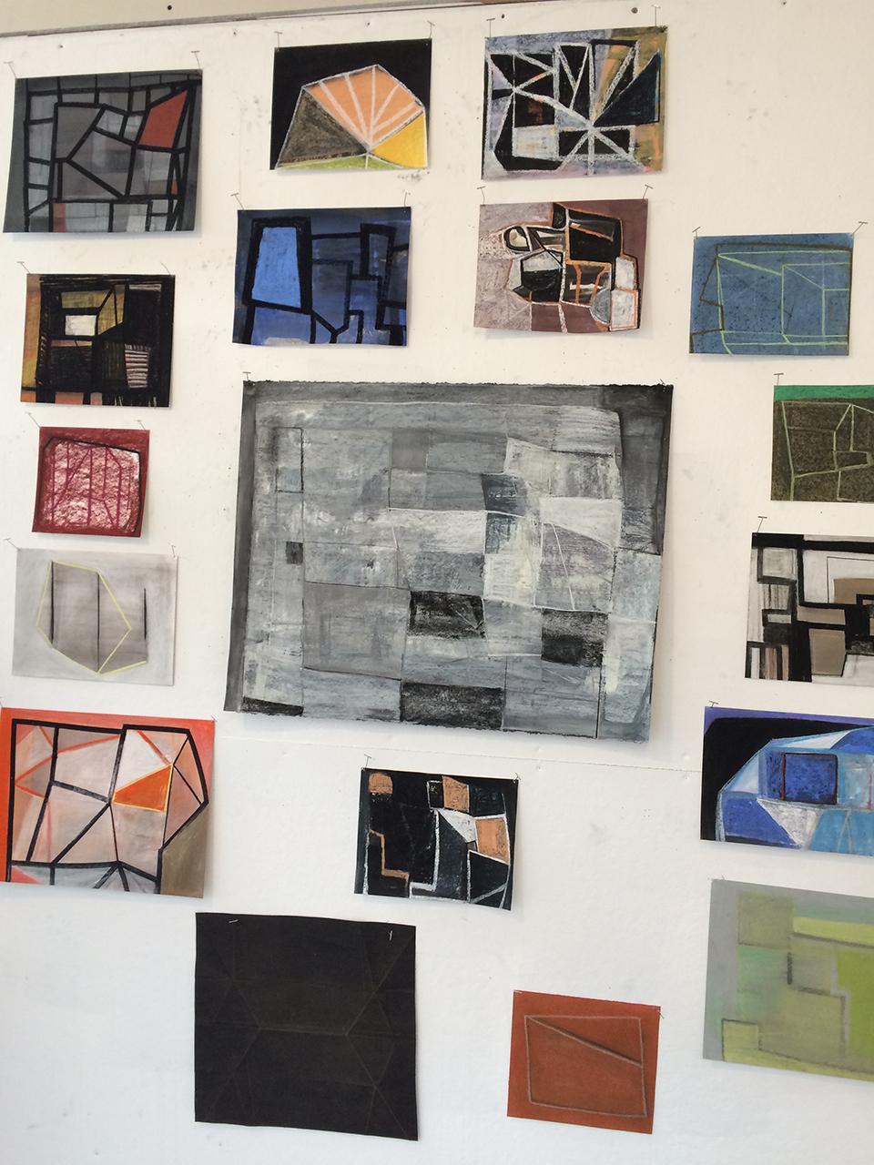 Pastel drawings on display in Erik Neff's studio.