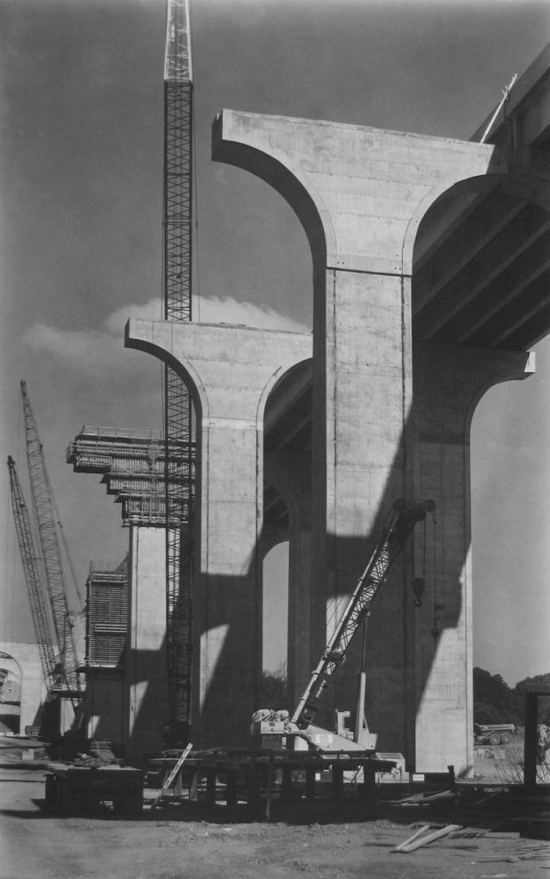 Bob Herbst, Bridge Piers, 2002, platinum/palladium print, 20 x 12 in., courtesy of the artist