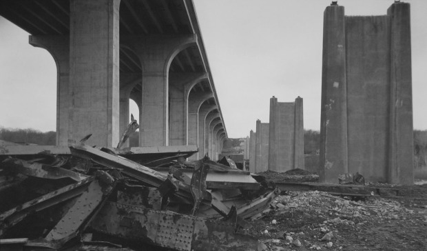 Bob Herbst, Old Bridge Rubble, 2002, platinum/palladium print, 12 x 20 in., courtesy of the artist