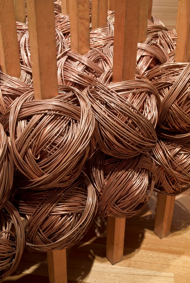 Jackie Winsor, #2 Copper (detail), 1976, Wood and copper, 34 1/2 x 51 x 51 in. Collection of the Akron Art Museum, Purchased, by exchange, with funds from Mr. and Mrs. Raymond C. Firestone
