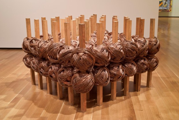Jackie Winsor, #2 Copper, 1976, Wood and copper, 34 1/2 x 51 x 51 in. Collection of the Akron Art Museum, Purchased, by exchange, with funds from Mr. and Mrs. Raymond C. Firestone