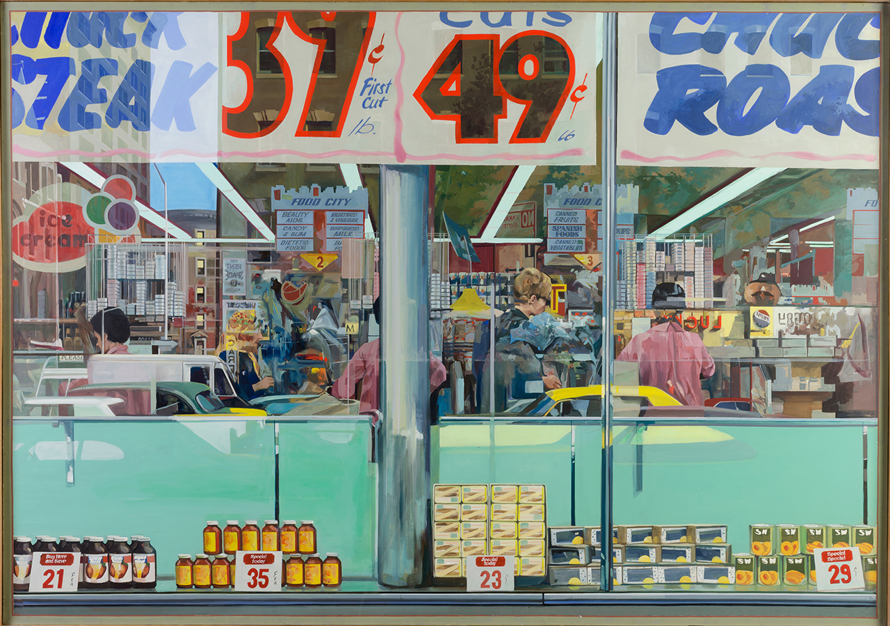 Richard Estes, Food City, 1967, Oil, acrylic and graphite on fiberboard 48 in. x 68 in. Collection of the Akron Art Museum, Purchased, by exchange, with funds raised by the Masked Ball 1955-1963
