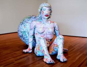 Viola Frey, The World and the Woman, 1992, glazed ceramic, 80 x 142 x 75 in., Collection of the Akron Art Museum, Gift of Irving and Harriett Sands